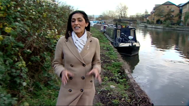 vidéos et rushes de gooseeating predator lurking in river lea could be large pike bare branches of tree pull focus river surface reporter to camera mike wells reading... - bare tree