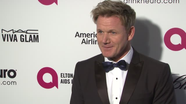 gordan ramsey at 23rd annual elton john aids foundation academy awards viewing party sponsored by chopard neuro drinks and wells fargo on february 22... - gordon ramsay stock videos and b-roll footage