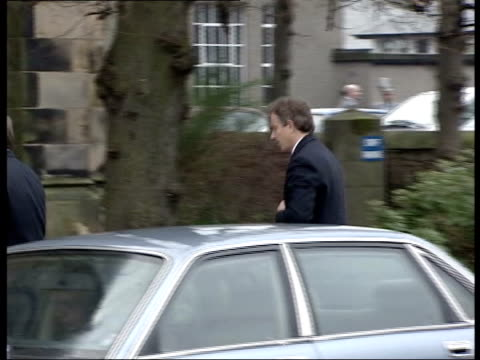 Gordon and Sarah Brown Baby's funeral SCOTLAND Kircaldy Chancellor Gordon Brown and wife Sarah from car on arrival at church for funeral of their...