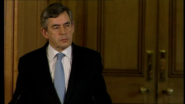 gordon brown and alistair darling public sector workers pay deal press conference; brown and darling take questions from journalists on whether the... - president of france stock videos & royalty-free footage