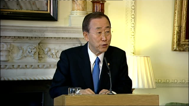 gordon brown and ban ki-moon press conference; ban ki-moon question and answer session sot - the eu has been strong partner of the united nations / i... - seguire attività che richiede movimento video stock e b–roll