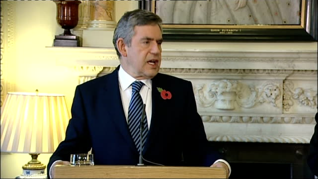 gordon brown and ban ki-moon press conference; gordon brown mp question and answer session sot - not the british public that are financing the banks... - banking sign stock videos & royalty-free footage