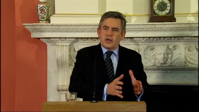 Gordon Brown and Brian Cowen press conference at Downing Street Brown press conference SOT On the Robinson family scandal Enormous progress has been...