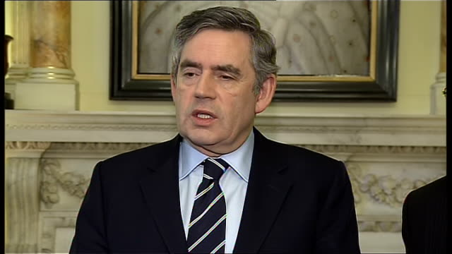 gordon brown and brian cowen press conference on devolution in northern ireland; brown press conference sot - the important thing is that we continue... - no doubt band stock videos & royalty-free footage