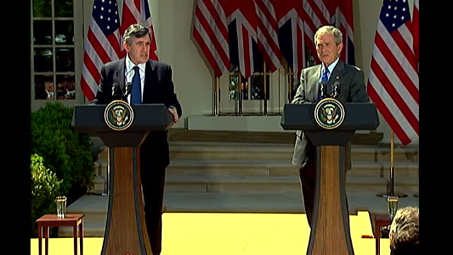 gordon brown and george w bush press conference prime minister gordon brown press conference sot thanks bush / the world owes president george bush a... - teamwork stock videos & royalty-free footage