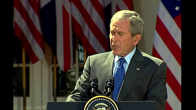 gordon brown and george w bush press conference usa washington dc white house rose garden ext george w bush and gordon brown mp along to podiums at... - 2005 stock videos & royalty-free footage