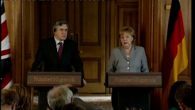 gordon brown and german chancellor angela merkel press conference; angela merkel press conference sot - g20 summit will yield concrete results /... - decline stock videos & royalty-free footage