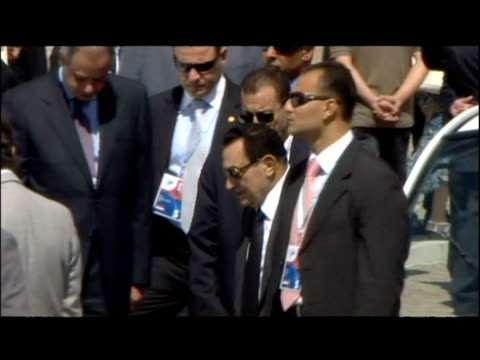 gordon brown and hosni mubarak arrive at g8 summit in l'aquila italy - g8 stock videos & royalty-free footage