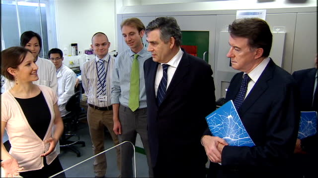 gordon brown and lord mandelson visit imperial college gordon brown and lord mandelson visiting laboratory and shown portable dna testing kit gordon... - testing kit stock videos & royalty-free footage