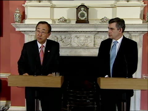 gordon brown and un secretary general ban kimoon press conference and photocall ban kimoon press statement sot thank you very much mr prime minister... - paying taxes stock videos & royalty-free footage
