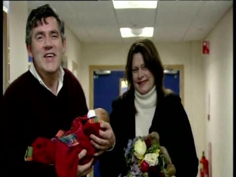 gordon brown and wife sarah leaving hospital with newborn baby john edinburgh oct 03 - couple relationship stock videos & royalty-free footage