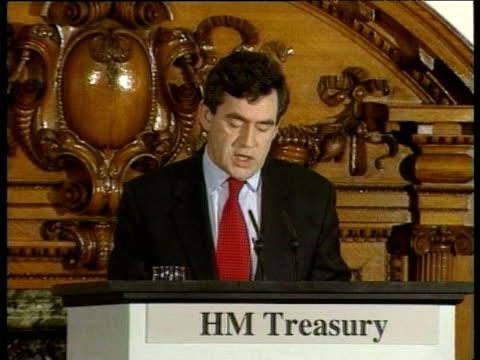 gordon brown announces decision to give operational responsibility for setting interest rates to bank of england london may 97 - ゴードン ブラウン点の映像素材/bロール
