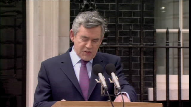 gordon brown announces intention to resign as leader of labour party; downing street: ext gordon brown mp speech sot - the reason that we have a hung... - gordon brown stock-videos und b-roll-filmmaterial