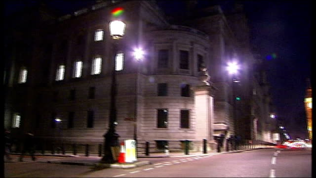 gordon brown announces second financial rescue package for british banks westminster treasury offices hm treasury sign on wall lighted georgian... - treasury stock videos and b-roll footage