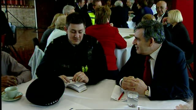 gordon brown answers reporters questions about embryology bill at labour party election launch in stevenage various of brown chatting to local... - stevenage stock videos and b-roll footage