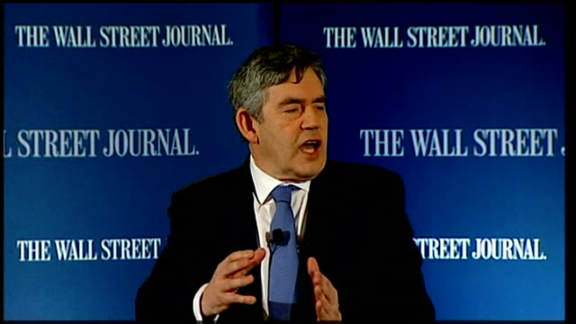 gordon brown attends debate hosted by wall street journal; gordon brown speech sot - in 1933 the world economic conference met in london to deal with... - economy class stock videos & royalty-free footage