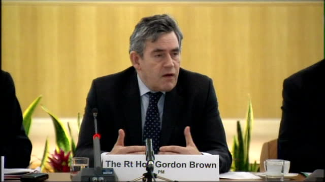 gordon brown attends meeting of regional economic council brown speech sot on need for proper global financial supervision / governments must act... - teilnehmen stock-videos und b-roll-filmmaterial