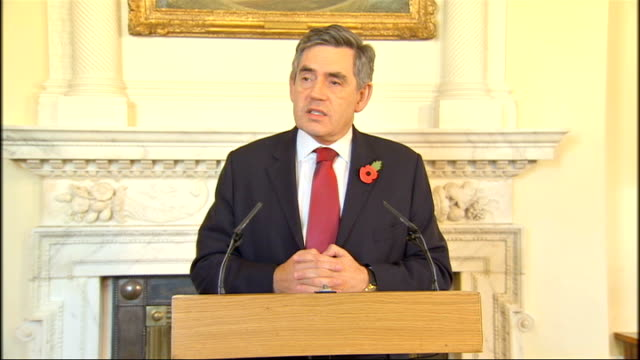 gordon brown calls for other nations to help international monetary fund: press conference; england: london: downing street: int gordon brown mp... - gordon brown stock-videos und b-roll-filmmaterial