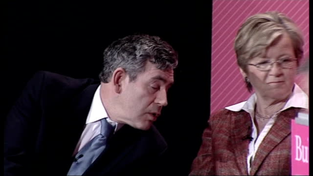 gordon brown criticised by former civil servant pre budget day file / r19030701 hackney int gordon brown on stage at launch of 'building on progress... - alan johnson stock videos & royalty-free footage