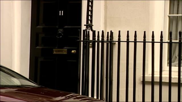 gordon brown departing from downing street; england: london: downing street: number 11: ext gordon brown mp departing number 11, getting into car and... - gordon brown stock-videos und b-roll-filmmaterial
