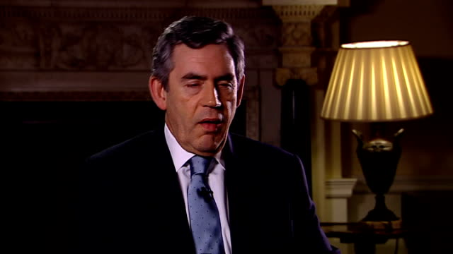 gordon brown discusses uk trading relationship interview with sir trevor mcdonald england london downing street int gordon brown mp interview setup... - human back stock videos & royalty-free footage