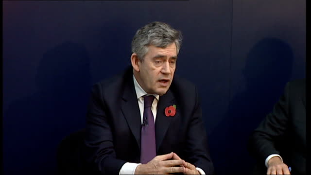 gordon brown discussion panel at imperial college; brown reply sot - all long-term decision have been made over past few months: on nuclear power, on... - panel discussion stock videos & royalty-free footage