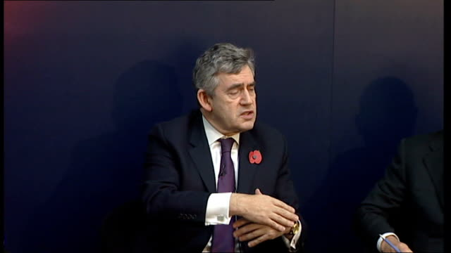 gordon brown discussion panel at imperial college; brown reply sot - on green new deal and series of jobs initiatives for the environment / market... - panel discussion stock videos & royalty-free footage
