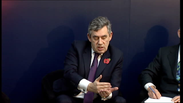 gordon brown discussion panel at imperial college; brown reply sot - on government supporting british industry / no single measure that will take us... - panel discussion stock videos & royalty-free footage
