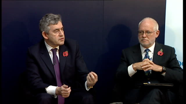 gordon brown discussion panel at imperial college; brown reply sot - want to reassure people that monetary policy will make a difference but you have... - panel discussion stock videos & royalty-free footage