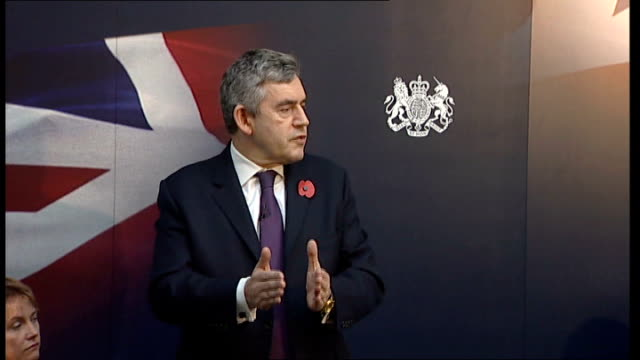gordon brown discussion panel at imperial college; brown speech sot - so our programme will be comprehensive in all ways. it is not simply liquidity... - panel discussion stock videos & royalty-free footage