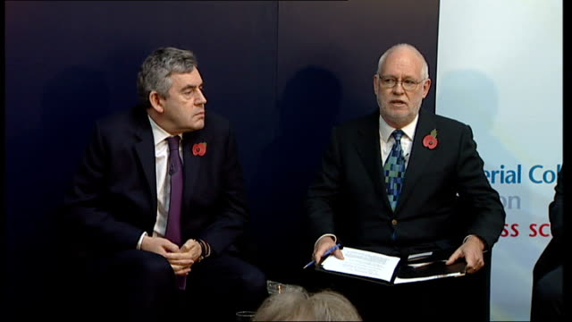 gordon brown discussion panel at imperial college england london imperial college int gordon brown mp greeting people onto podium with yvette cooper... - tony mcnulty stock videos & royalty-free footage