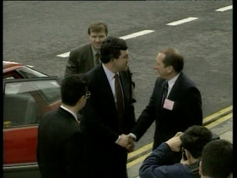 gordon brown exits car and greets people before walking up steps swansea may 94 - ゴードン ブラウン点の映像素材/bロール