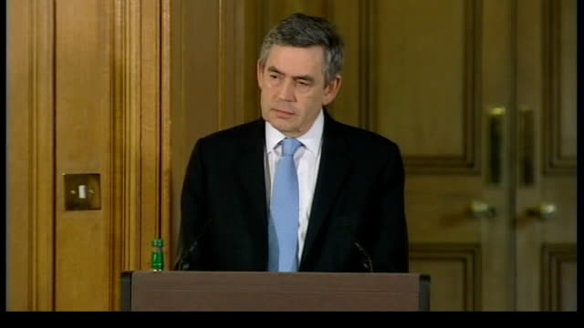 gordon brown faces consequences of global 'credit crunch' downing street number 10 brown listening to question whether taxpayers will get back money... - 2007 stock videos and b-roll footage