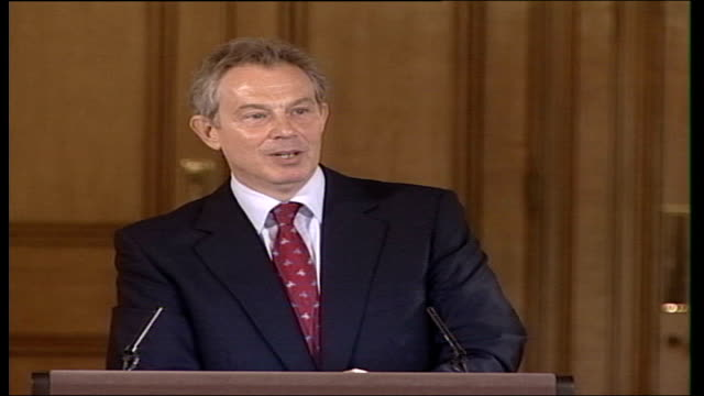 gordon brown favourite to win labour leadership election; int prime minister tony blair press conference sot - i have no doubt, he will be absolutely... - no doubt band stock videos & royalty-free footage