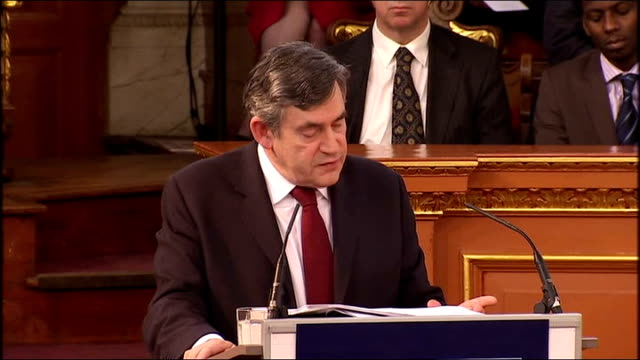 gordon brown gives romanes lecture at oxford university; gordon brown speech sot - let me address each of these points in turn, first - a new... - economy class stock videos & royalty-free footage