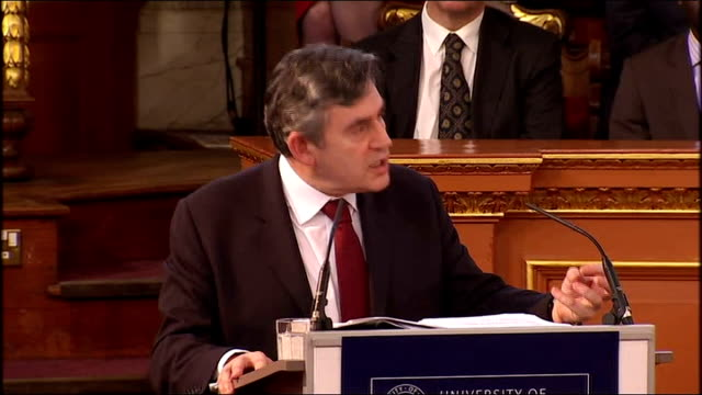 gordon brown gives romanes lecture at oxford university gordon brown speech sot i am sure we would all agree that having the scientific capacity to... - pancreas stock videos & royalty-free footage