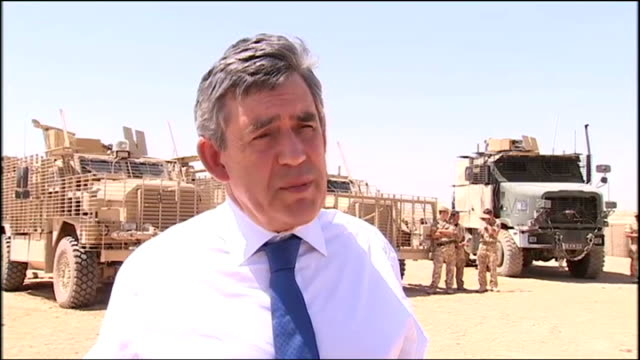 gordon brown greeting afghan army troops in control room ext gordon brown interview sot - i think we can get another fifty thousand afghan army... - セキュリティスキャナ点の映像素材/bロール