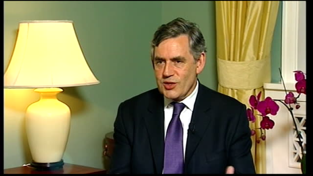 int gordon brown interview sot from tomorrow it is london and britain which is the olympic country i think people will talk about us as the olympic... - shirt and tie stock videos & royalty-free footage