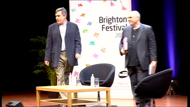 vidéos et rushes de gordon brown interviewed by film director anthony minghella; england: sussex: brighton: the dome: int gordon brown mp and anthony minghella along on... - anthony minghella