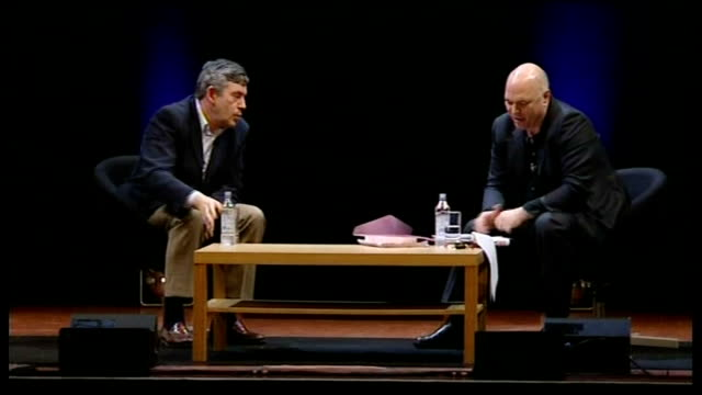 vidéos et rushes de gordon brown interviewed by film director anthony minghella; minghella speaking sot - one thing gordon and i have in common is that i make films... - anthony minghella