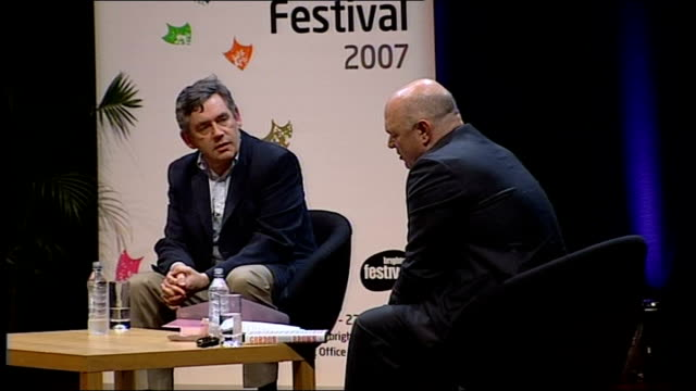 vidéos et rushes de gordon brown interviewed by film director anthony minghella; minghella asking question sot - you said the structure of this book was based on the... - anthony minghella