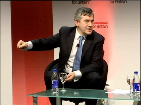 gordon brown interviewed by former labour mp oona king; - [asked what the biggest challenges are looking ahead] manchester should be very proud as it... - commonwealth games stock videos & royalty-free footage