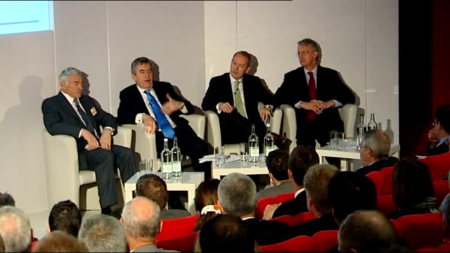 gordon brown john hutton and hilary benn attend low carbon economy summit more of brown at podium speaking sot with cutaways of audience and... - hilary benn stock-videos und b-roll-filmmaterial