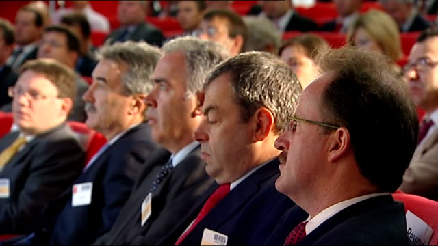 gordon brown john hutton and hilary benn attend low carbon economy summit brown up to podium and excerpts from speech sot / cutaways of brown speech... - hilary benn stock-videos und b-roll-filmmaterial