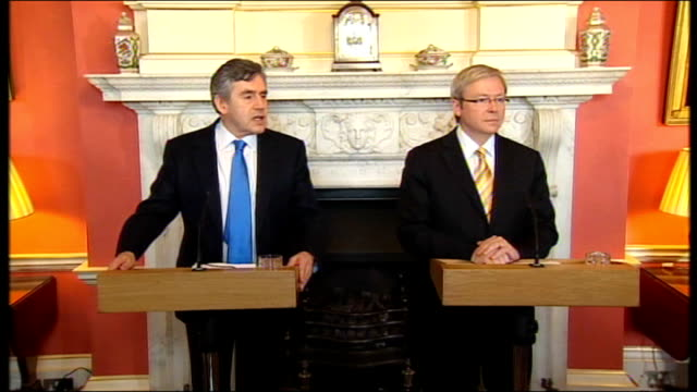 gordon brown & kevin rudd press conference; england: london: downing street: int gordon brown mp and kevin rudd entering room ends gordon brown mp... - wall street crash of 1929 stock videos & royalty-free footage