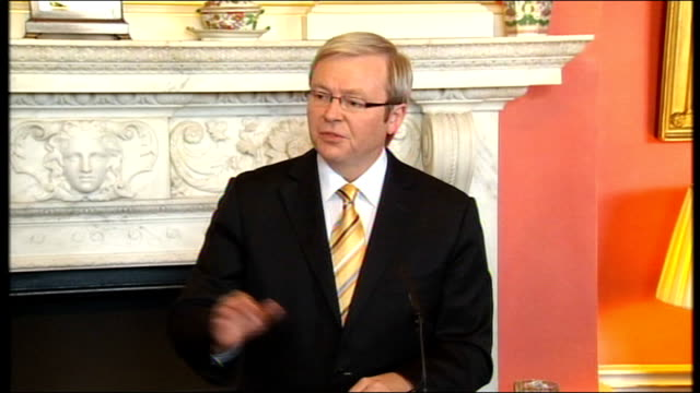 gordon brown & kevin rudd press conference; kevin rudd press conference sot - thank you prime minister / why are we in london? to develop and... - co ordination stock videos & royalty-free footage