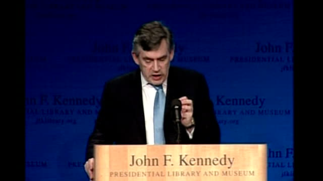 gordon brown keynote speech at kennedy library; gordon brown speech sot - there have been four great moments in the modern age when statesmen have... - new age stock videos & royalty-free footage