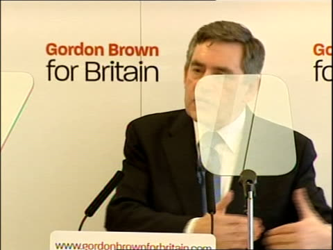 gordon brown labour leadership launch speech; jack straw mp leads questions sot / nick robinson question about whether the new government will be the... - itv news at one点の映像素材/bロール