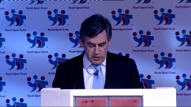 gordon brown launches drive to encourage sports in schools brown speech sot competition is the spice of life and it finds its purest expression in... - after life stock videos & royalty-free footage