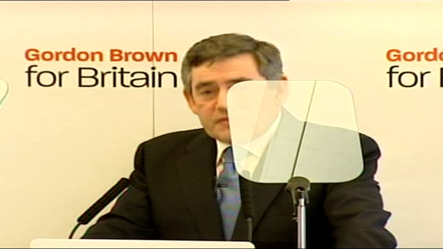 gordon brown launches labour party leadership campaign; bloomsbury: imagination gallery: int gordon brown delivering his leadership launch speech... - itvイブニングニュース点の映像素材/bロール